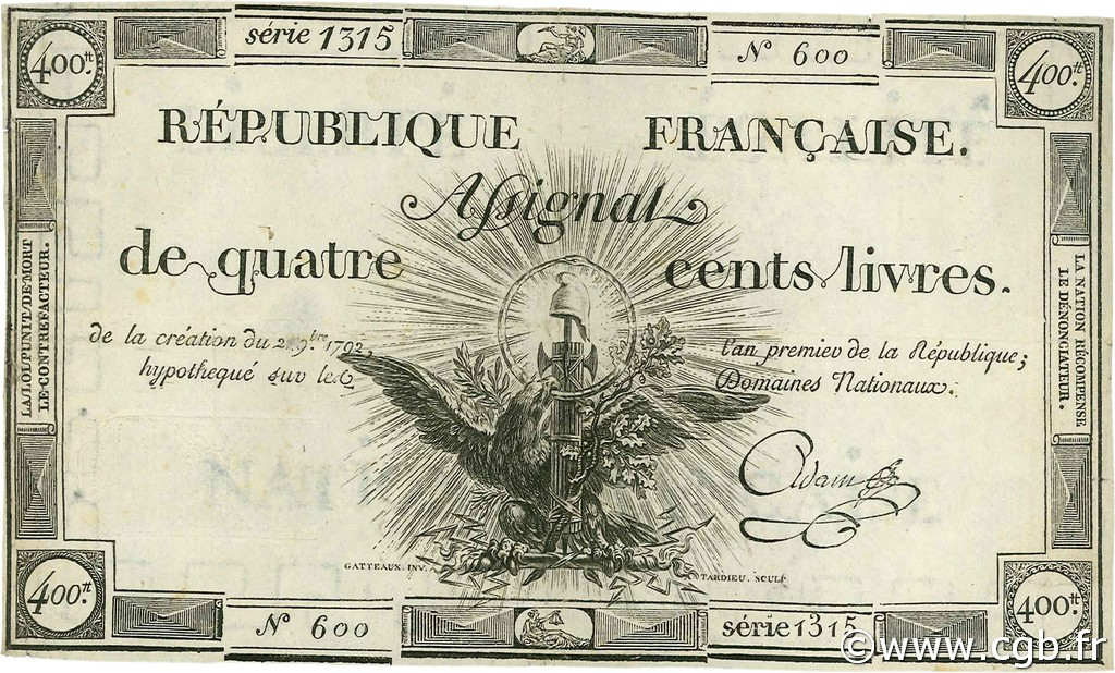 400 Livres FRANCE  1792 Ass.38a TTB+