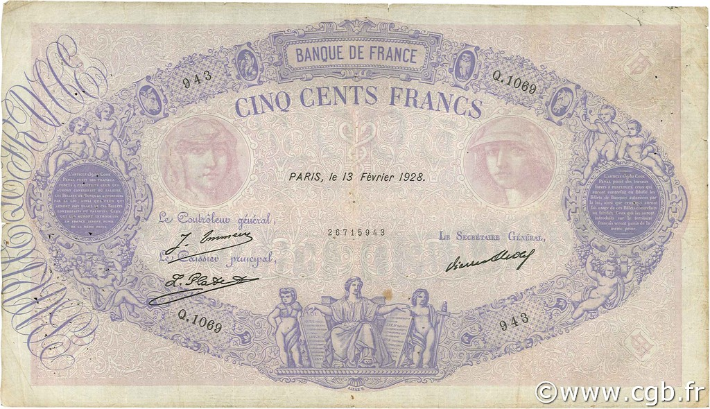 500 Francs BLEU ET ROSE FRANCE  1928 F.30.31 B+