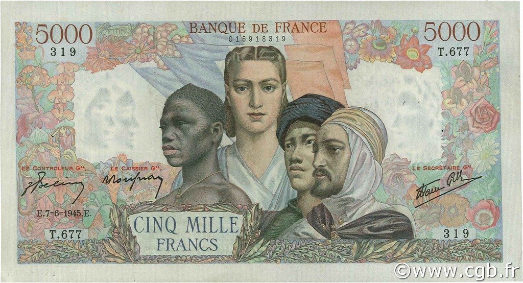 5000 Francs EMPIRE FRANÇAIS FRANCE  1945 F.47.29 SUP+