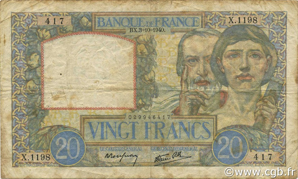 20 Francs TRAVAIL ET SCIENCE FRANCE  1940 F.12.08 TB