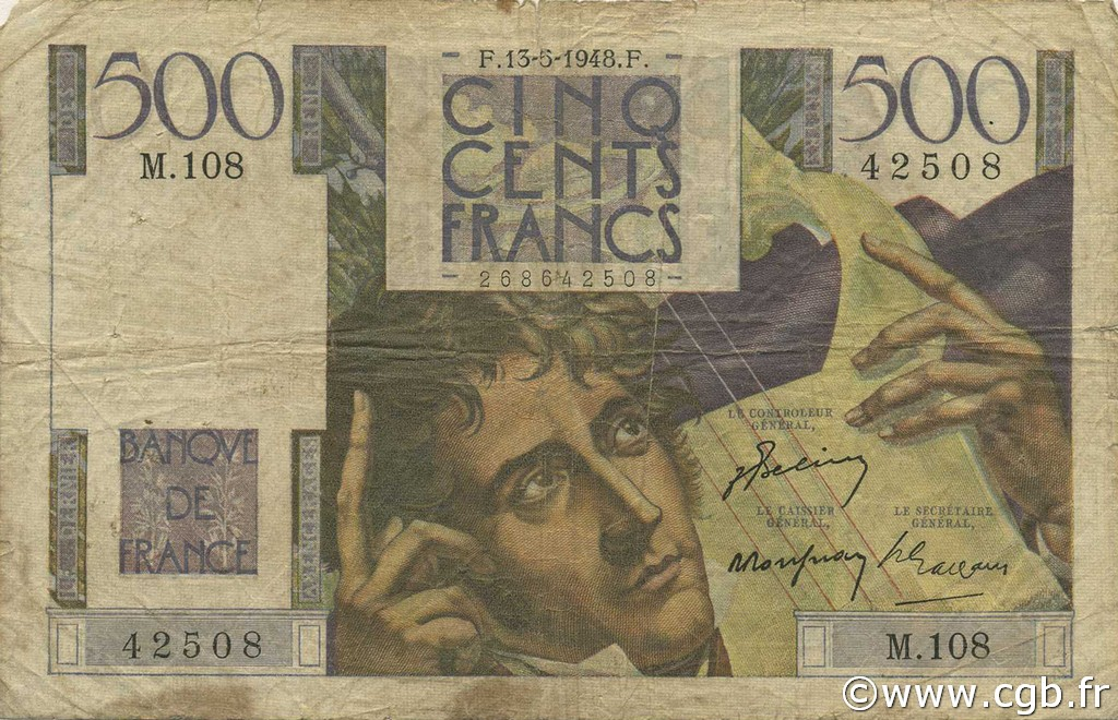 500 Francs CHATEAUBRIAND FRANCE  1948 F.34.08 pr.B