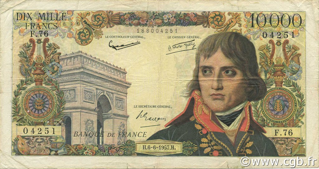 10000 Francs BONAPARTE FRANCE  1957 F.51.08 TB
