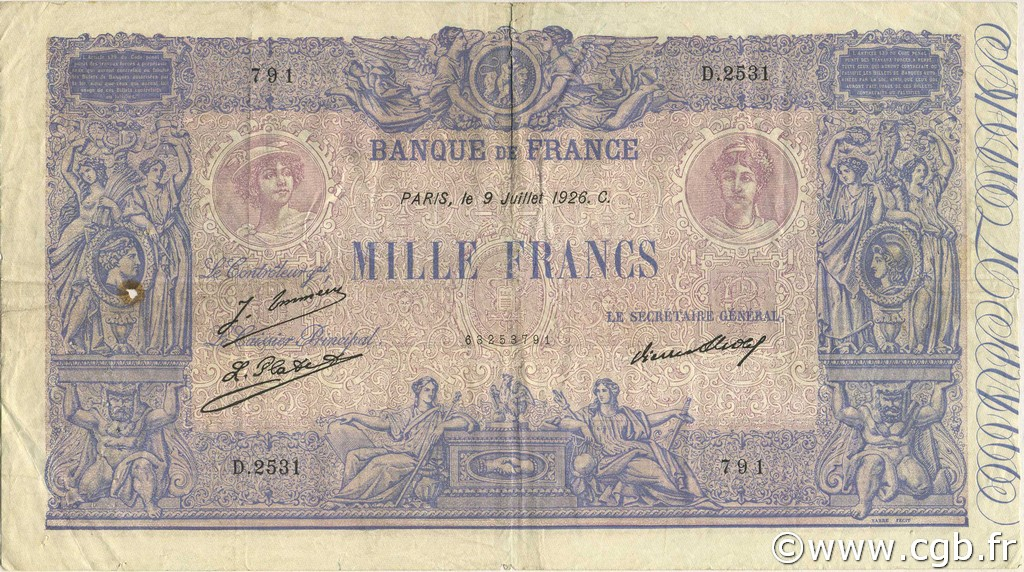 1000 Francs BLEU ET ROSE FRANCE  1926 F.36.43 TB+