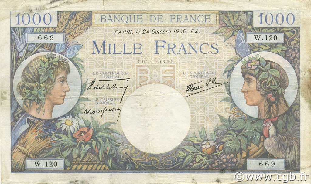 1000 Francs COMMERCE ET INDUSTRIE FRANCE  1940 F.39.01 TB+