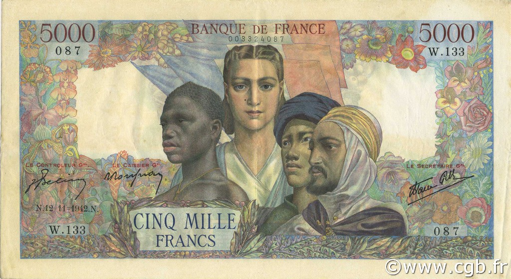 5000 Francs EMPIRE FRANCAIS FRANCE  1942 F.47.06 SUP