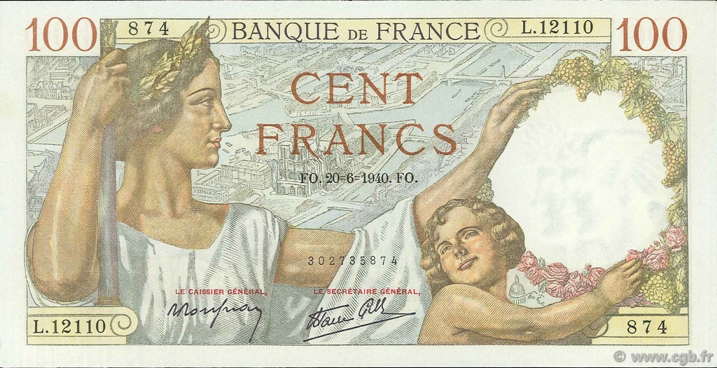 100 Francs SULLY FRANCE  1940 F.26.32 SPL