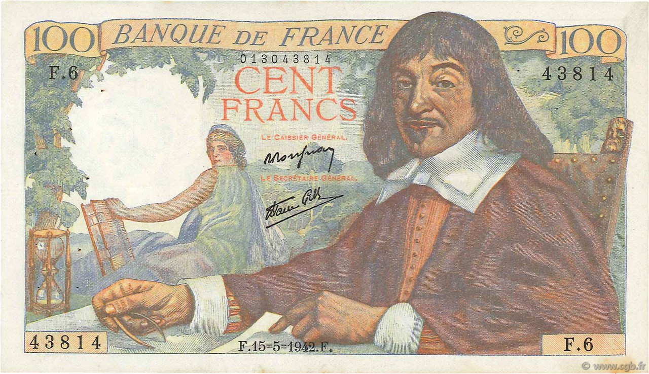 100 Francs DESCARTES FRANCE  1942 F.27.01 SUP
