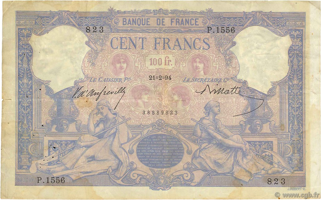100 Francs BLEU ET ROSE FRANCE  1894 F.21.07 TB+