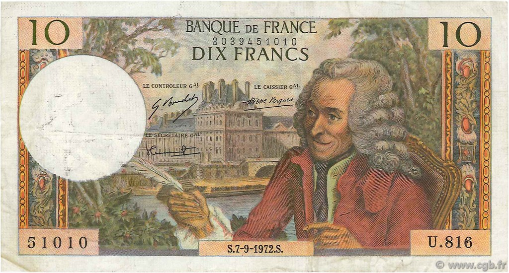 10 Francs VOLTAIRE FRANCE  1972 F.62.58 TB+