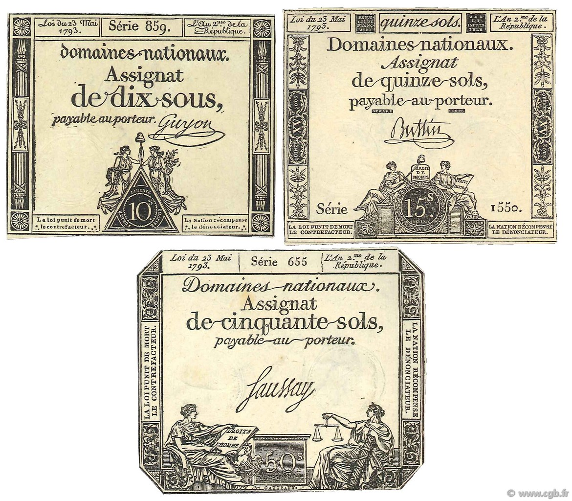 Lot 3 assignats : La Révolution Française 1792-1795 FRANCE  1793 Ass.40b- 41b- 42c SUP à SPL