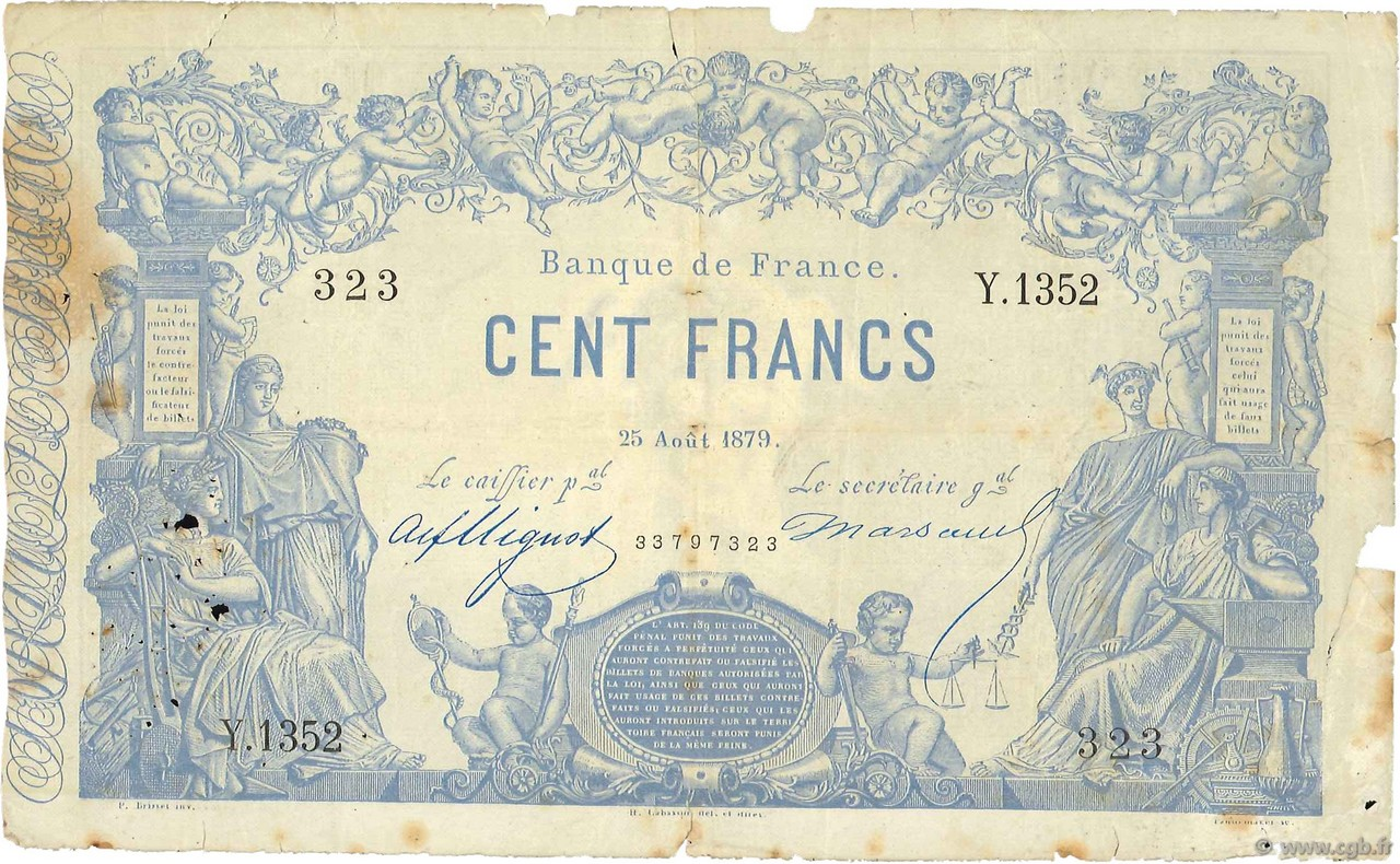 100 Francs type 1862 Indices Noirs FRANCE  1879 F.A39.15 B