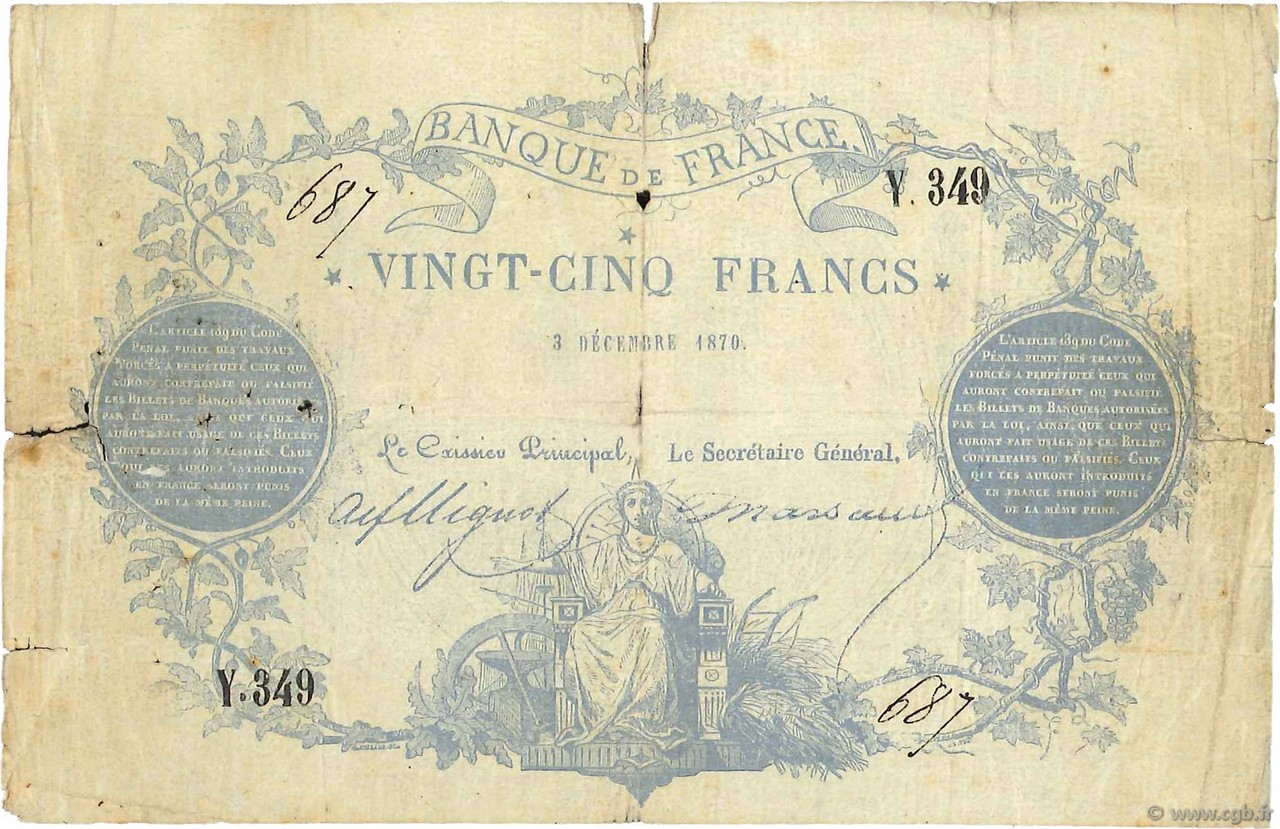 25 Francs type 1870 Clermont-Ferrand FRANCE  1870 F.A44.01 B
