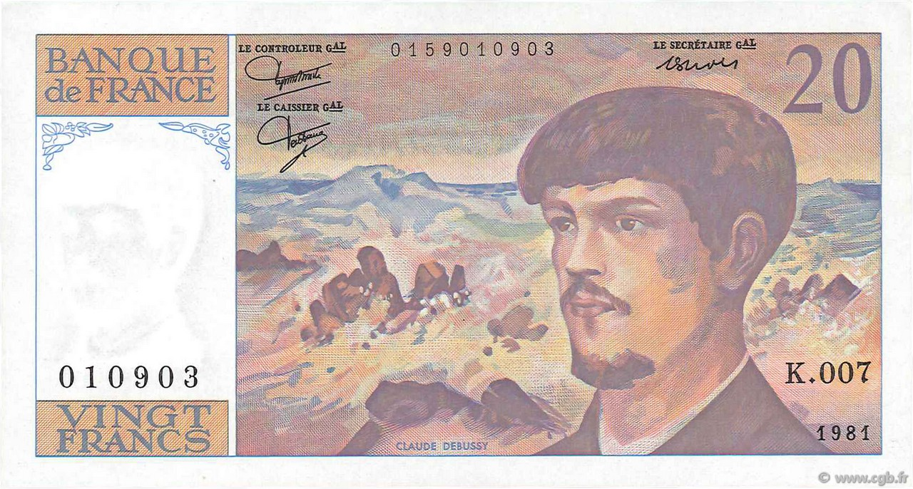 20 Francs DEBUSSY FRANCE  1981 F.66.02 pr.SUP