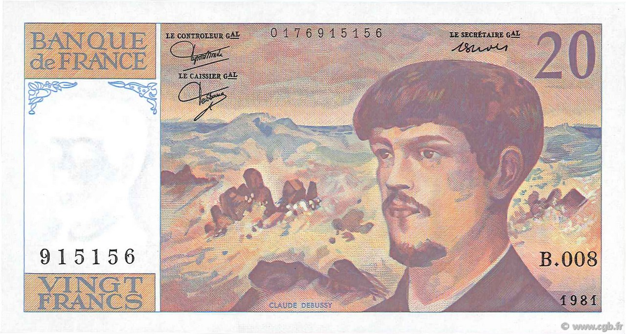20 Francs DEBUSSY FRANCE  1981 F.66.02 SPL+
