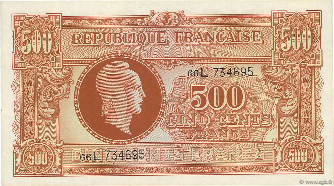500 Francs MARIANNE FRANCE  1945 VF.11.01 SUP+