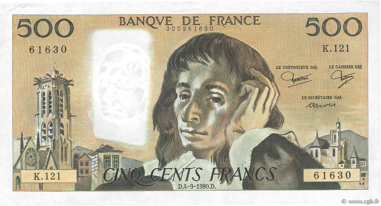 500 Francs PASCAL FRANCE  1980 F.71.22 pr.SUP
