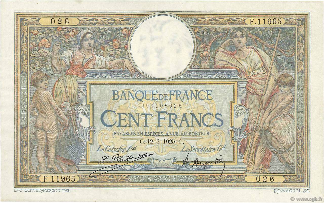 100 Francs LUC OLIVIER MERSON grands cartouches FRANCE  1925 F.24.03 SUP