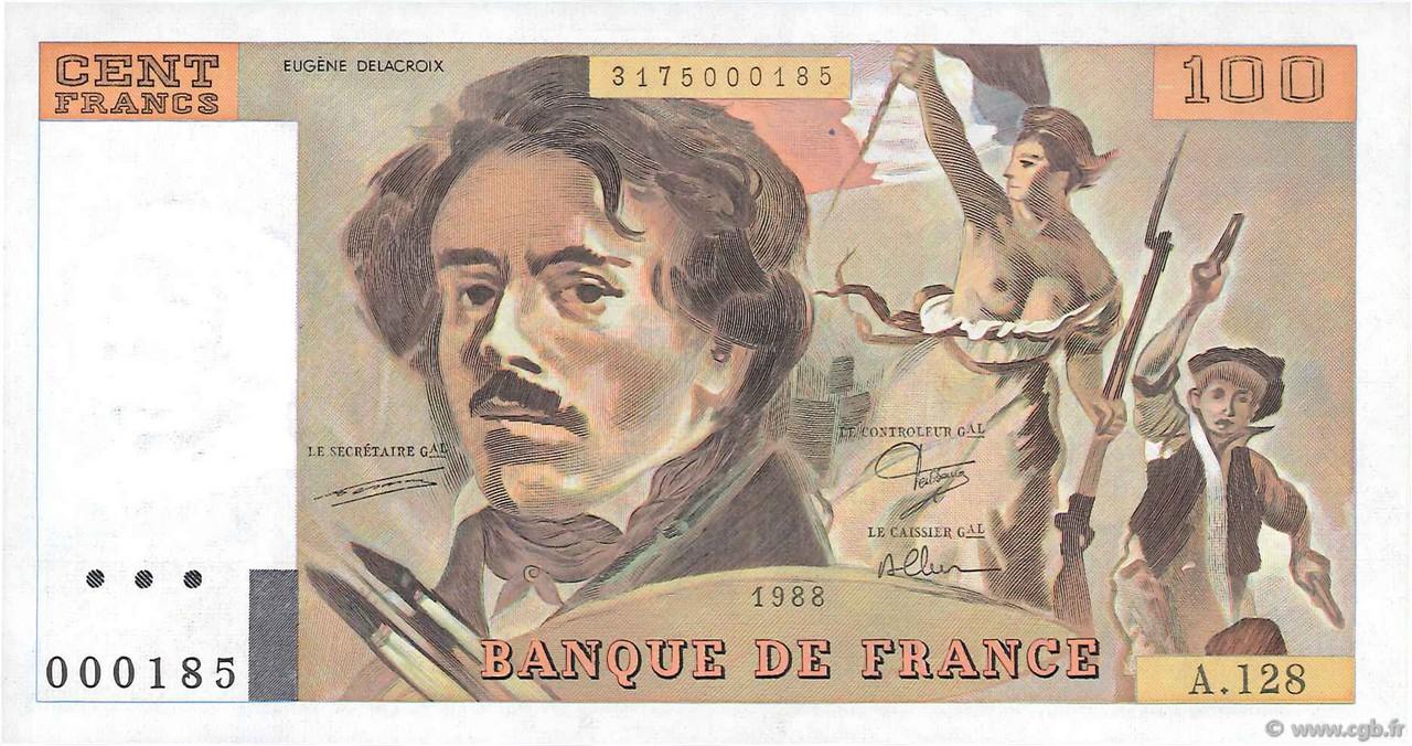 100 Francs Delacroix Modifi U00e9 Petit Num U00e9ro France 1988 F 69