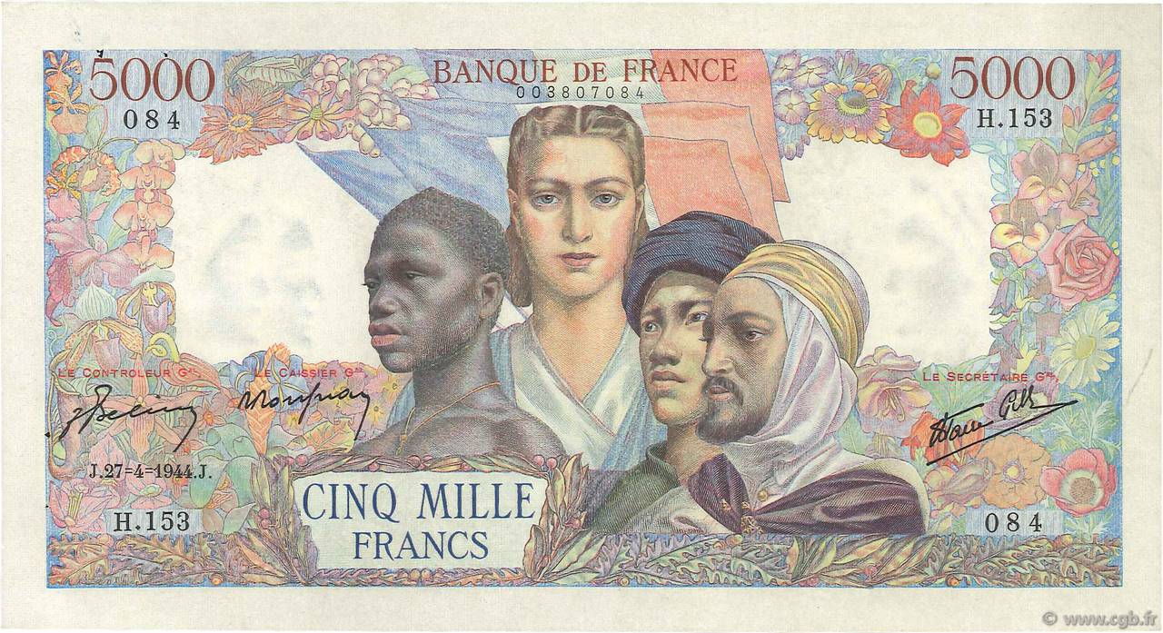 5000 Francs EMPIRE FRANCAIS  FRANCE  1944 F.47.07 SUP