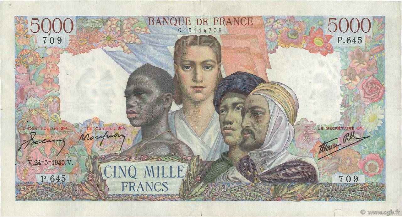 5000 Francs EMPIRE FRANÇAIS FRANCE  1945 F.47.27 TTB