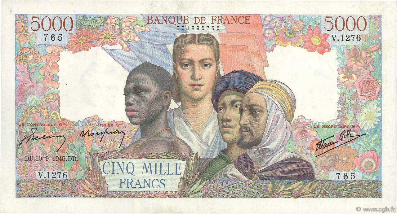 5000 Francs EMPIRE FRANÇAIS FRANCE  1945 F.47.44 TTB+