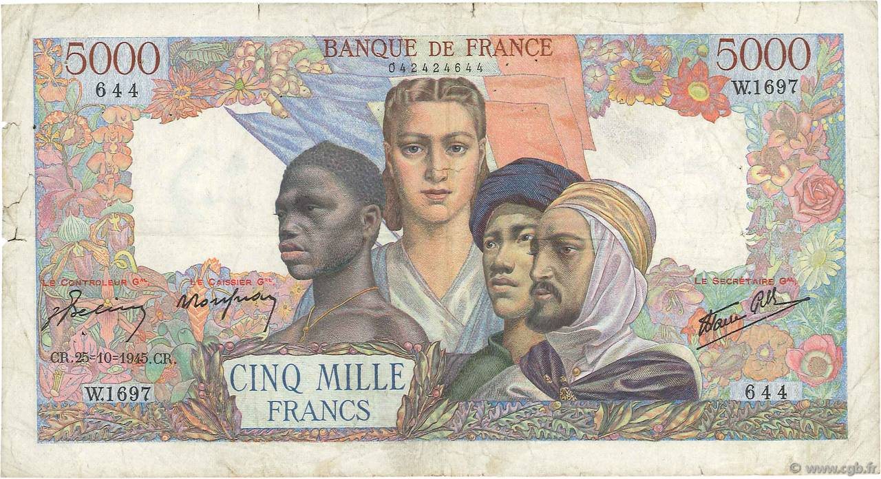 5000 Francs EMPIRE FRANÇAIS  FRANCE  1945 F.47.48 B