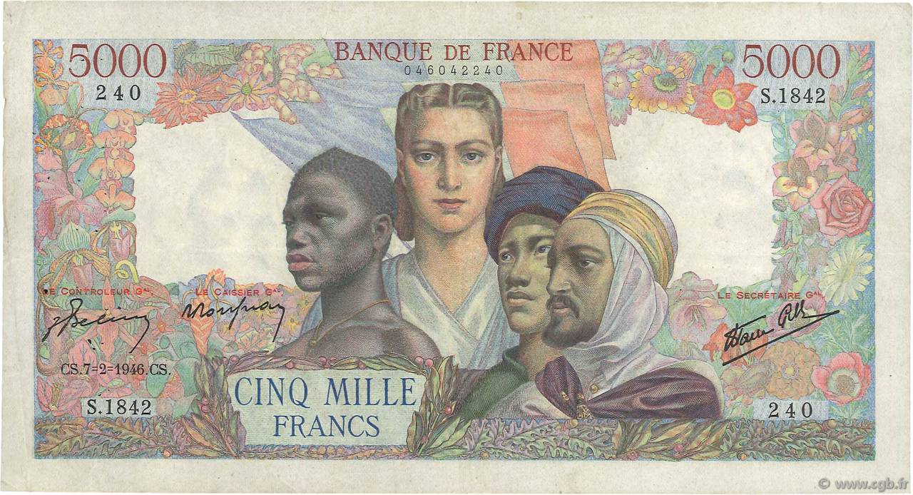 5000 Francs EMPIRE FRANÇAIS  FRANCE  1946 F.47.50 TTB