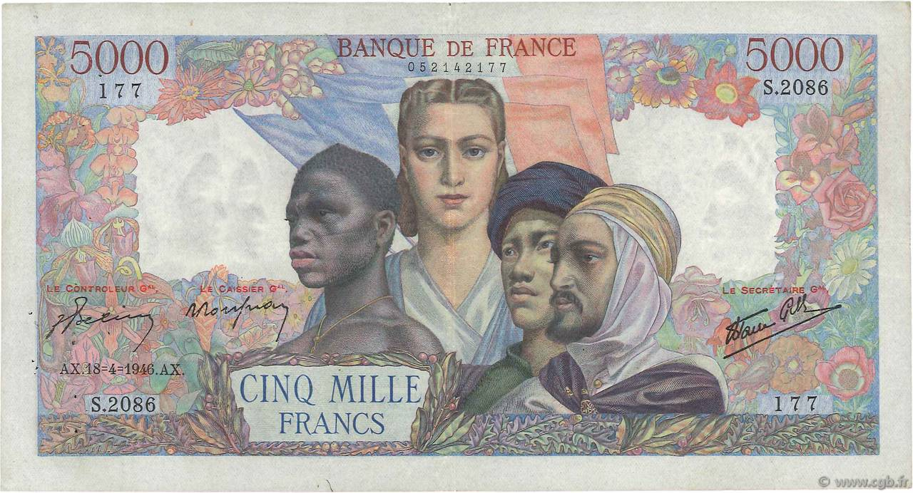 5000 Francs EMPIRE FRANÇAIS FRANCE  1946 F.47.52 TTB