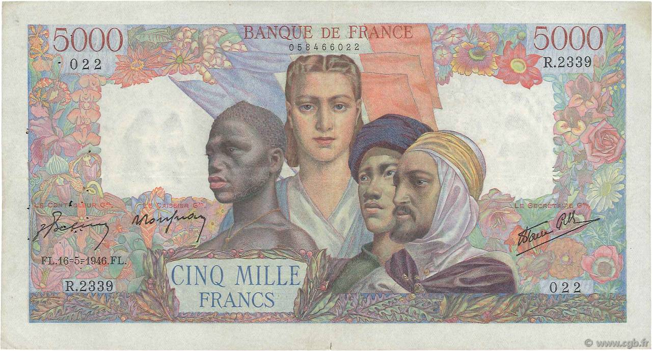 5000 Francs EMPIRE FRANÇAIS FRANCE  1946 F.47.53 TTB