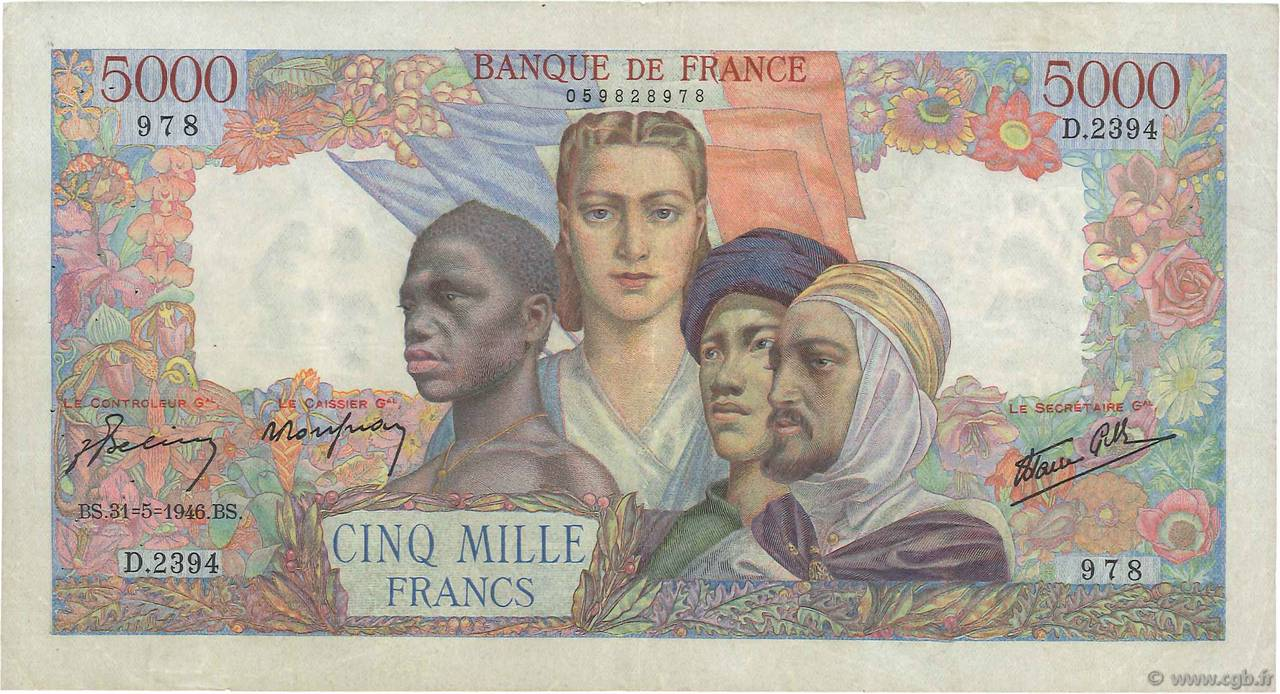 5000 Francs EMPIRE FRANÇAIS FRANCE  1946 F.47.54 TTB