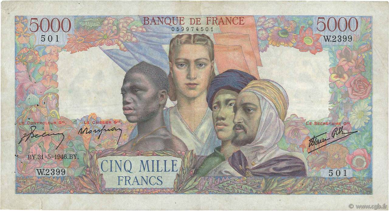 5000 Francs EMPIRE FRANÇAIS FRANCE  1946 F.47.54 pr.TTB