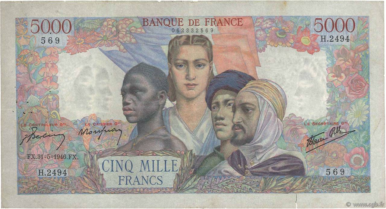 5000 Francs EMPIRE FRANÇAIS FRANCE  1946 F.47.54 TB