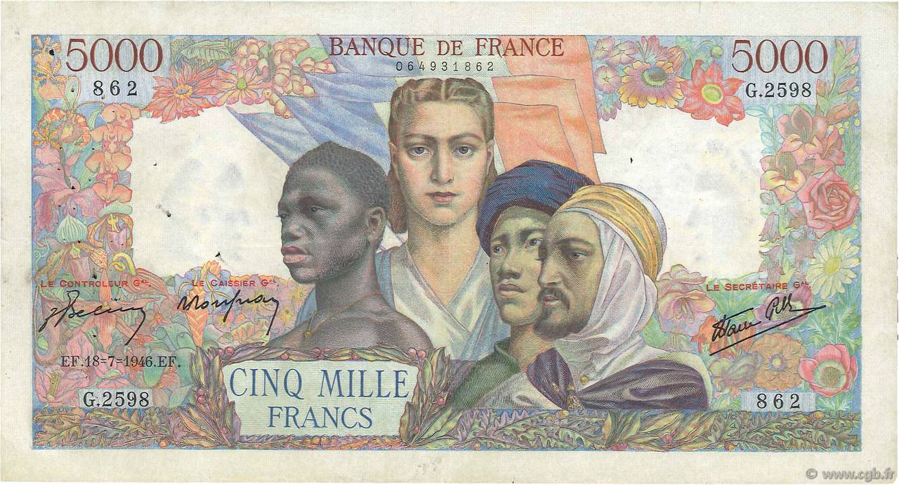 5000 Francs EMPIRE FRANÇAIS FRANCE  1946 F.47.55 TB+