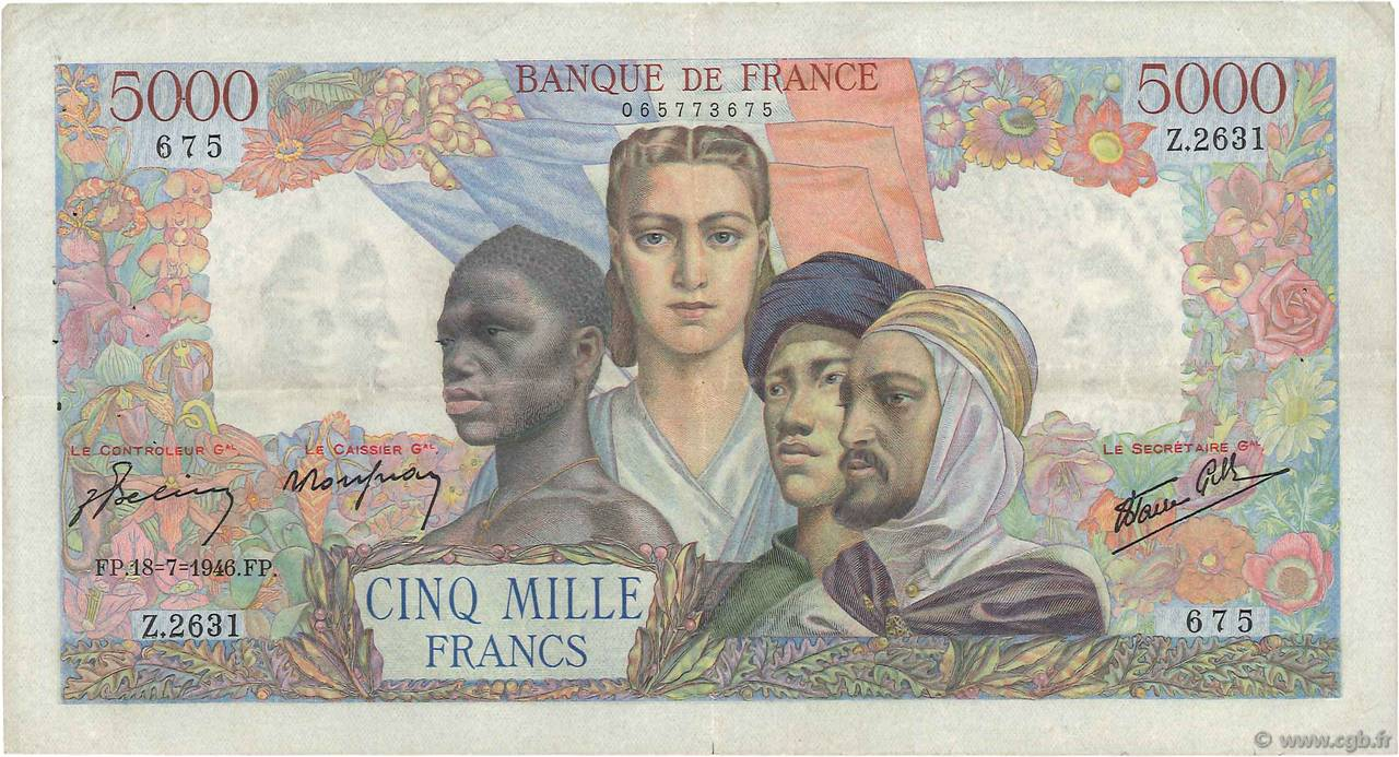 5000 Francs EMPIRE FRANÇAIS FRANCE  1946 F.47.55 TTB