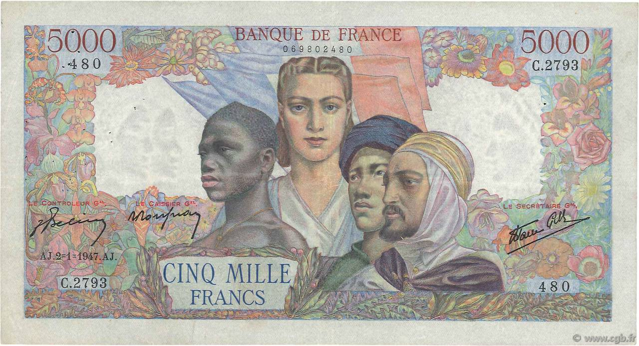 5000 Francs EMPIRE FRANÇAIS FRANCE  1947 F.47.57 TTB