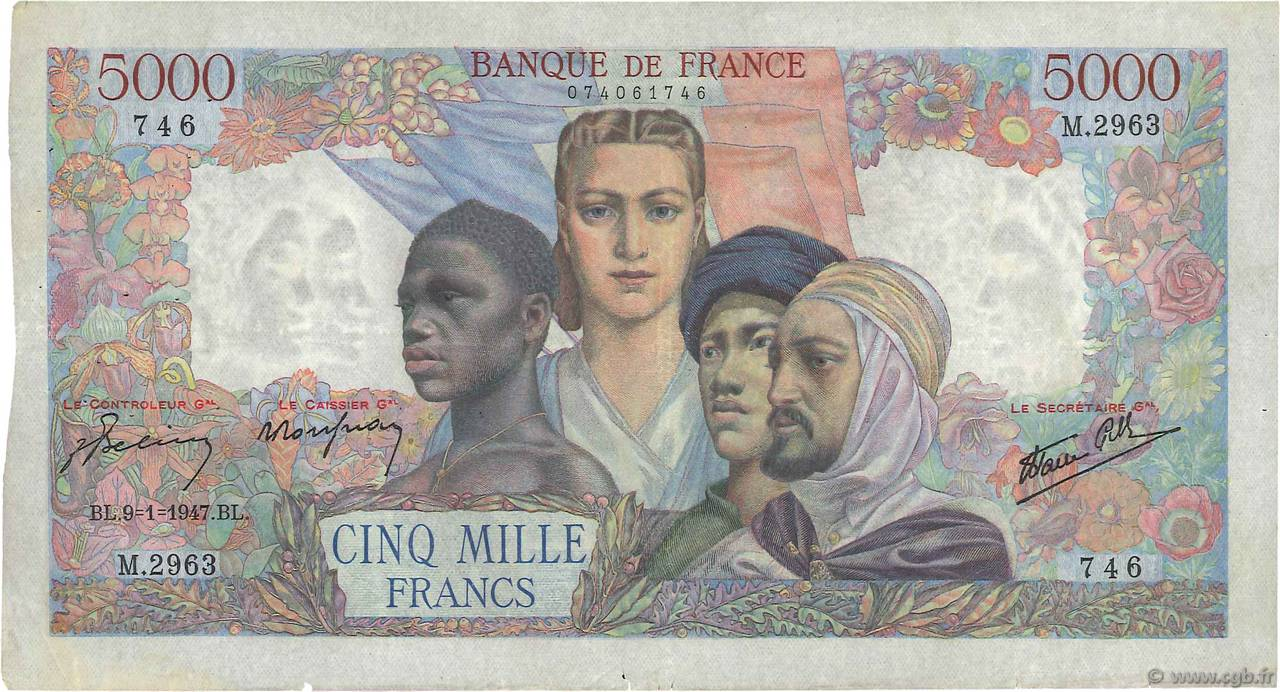 5000 Francs EMPIRE FRANÇAIS FRANCE  1947 F.47.58 TB