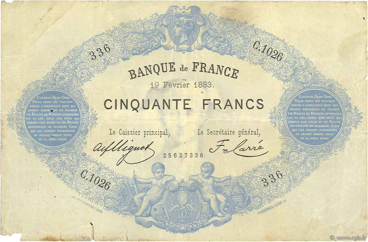50 Francs type 1868 Indices Noirs FRANCE  1883 F.A38.13 pr.TB