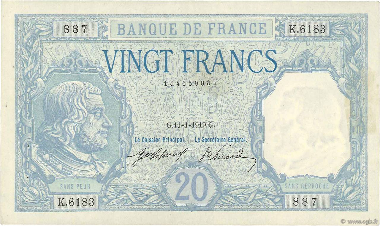 20 Francs BAYARD  FRANCE  1919 F.11.04 SUP