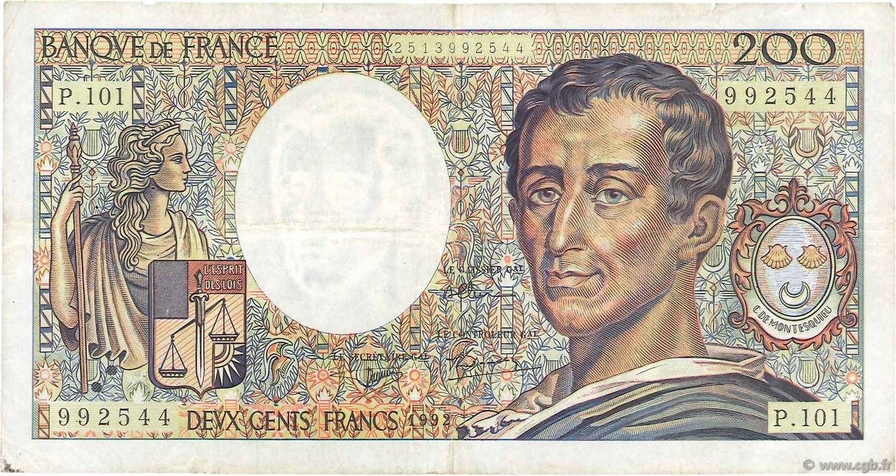 200 Francs MONTESQUIEU alphabet 101 FRANCE  1992 F.70bis.01 TB