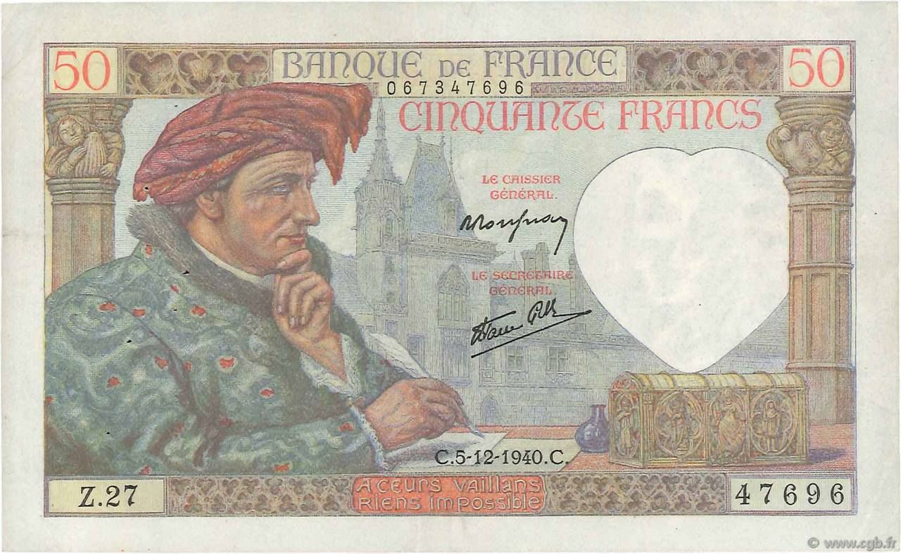 50 Francs JACQUES CŒUR FRANCE  1940 F.19.04 TTB+