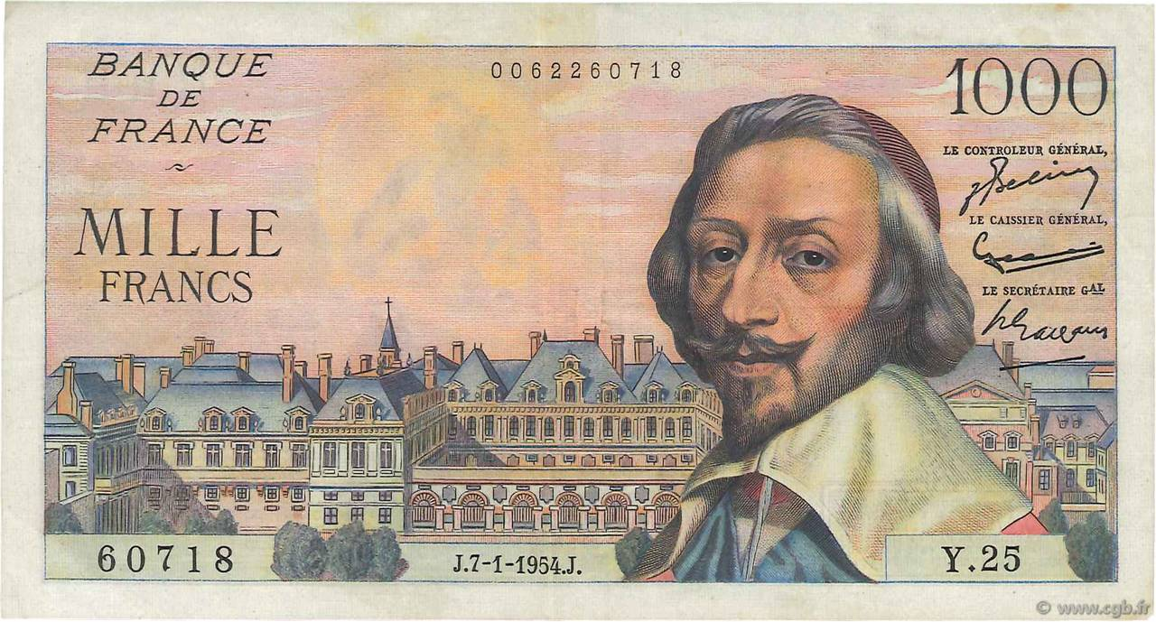 1000 Francs RICHELIEU FRANCE  1954 F.42.04 TTB+