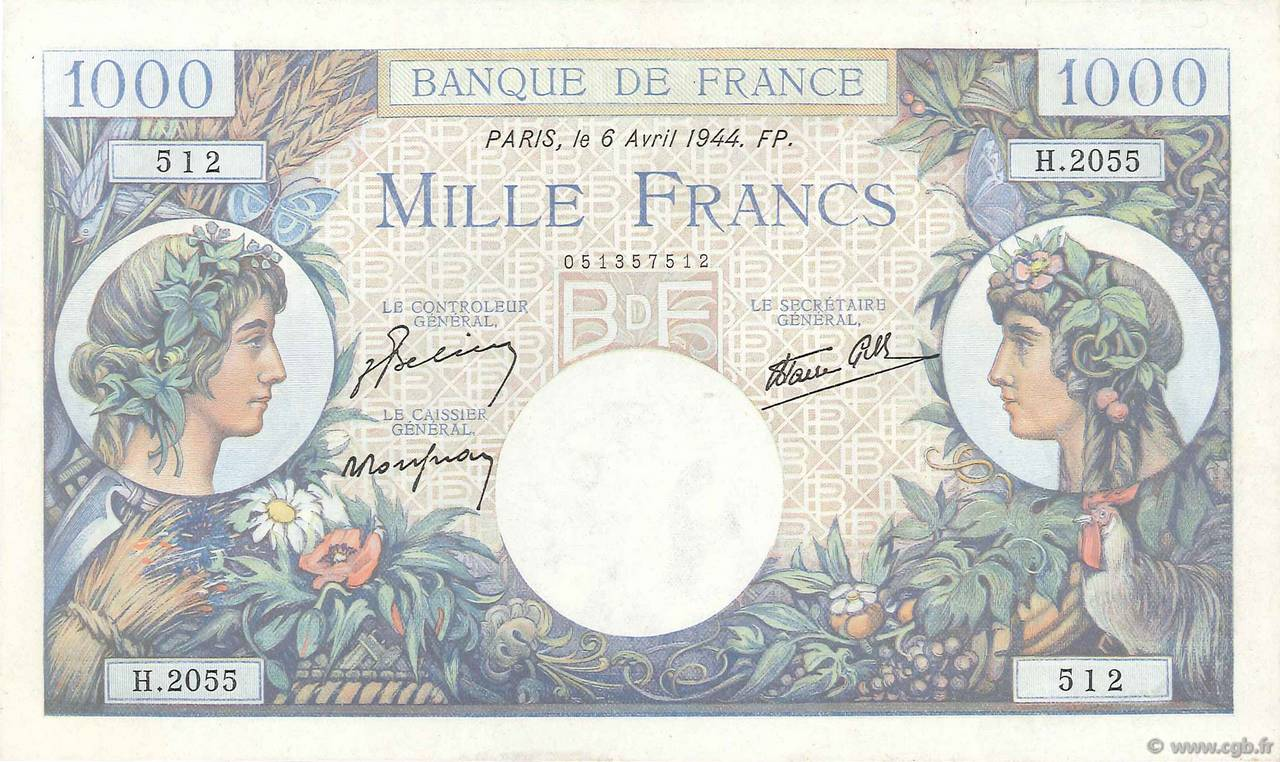 1000 Francs COMMERCE ET INDUSTRIE FRANCE  1944 F.39.05 SUP