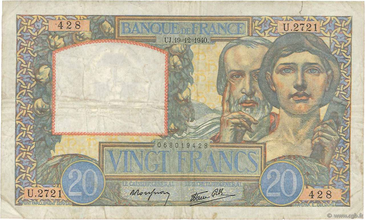 20 Francs SCIENCE ET TRAVAIL FRANCE  1940 F.12.11 TB