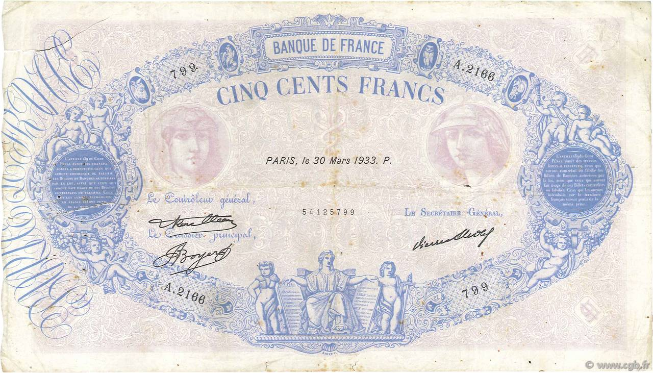 500 Francs BLEU ET ROSE FRANCE  1933 F.30.36 TB