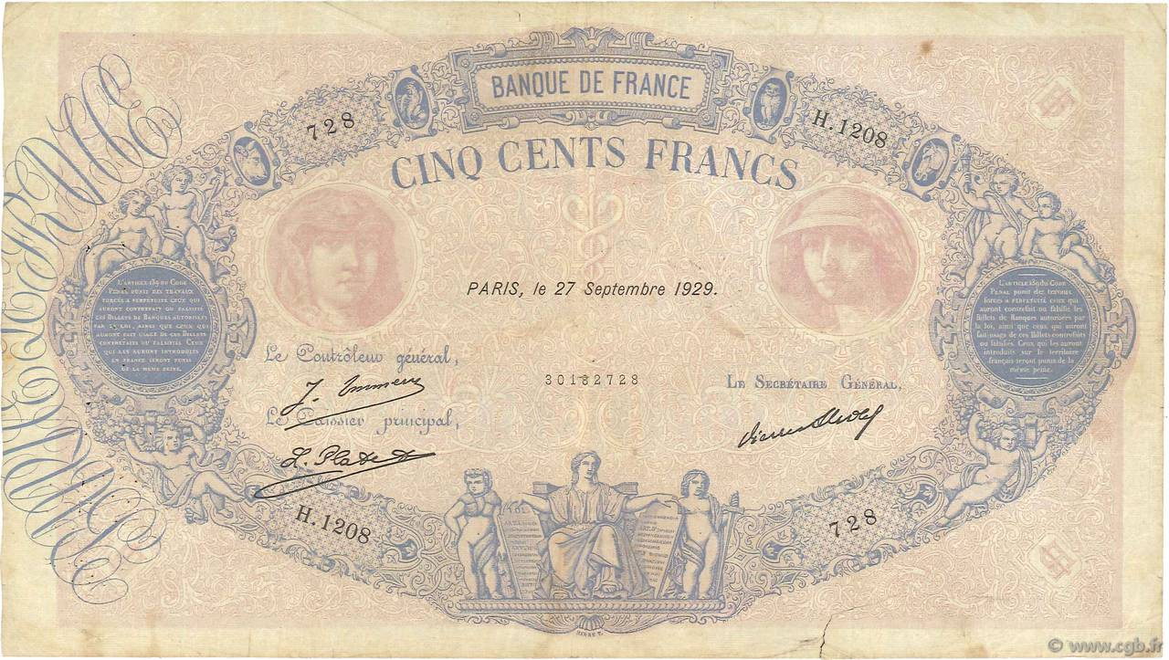 500 Francs BLEU ET ROSE FRANCE  1929 F.30.32 B