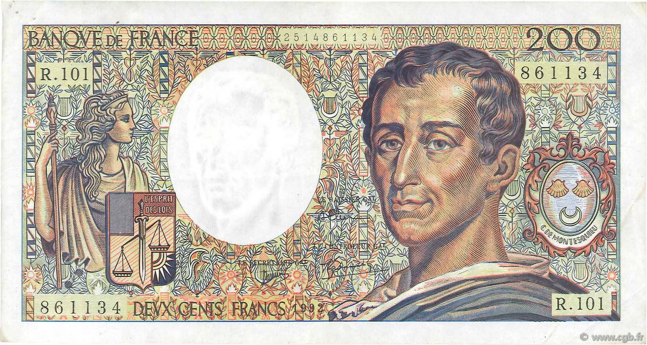 200 Francs MONTESQUIEU alphabet 101 FRANCE  1992 F.70bis.01 TTB