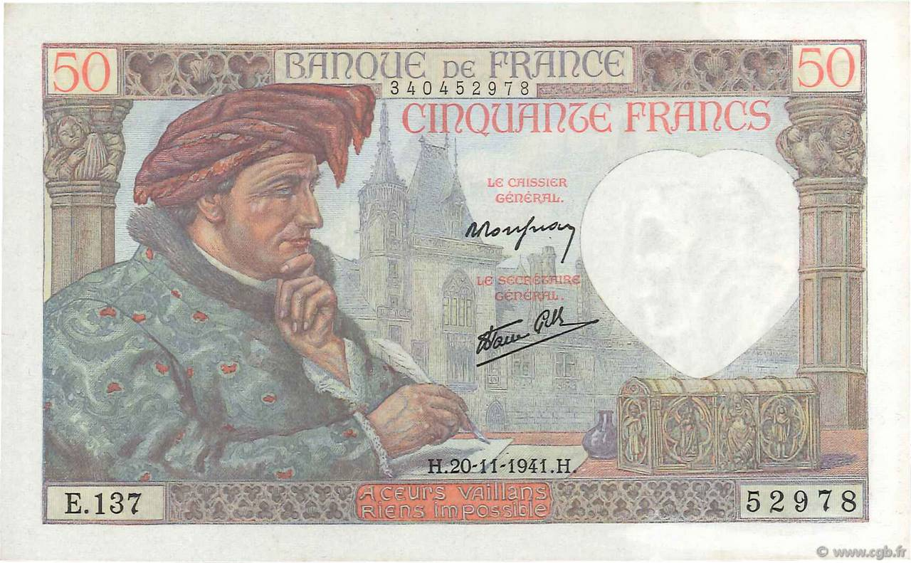 50 Francs JACQUES CŒUR FRANCE  1941 F.19.16 SPL