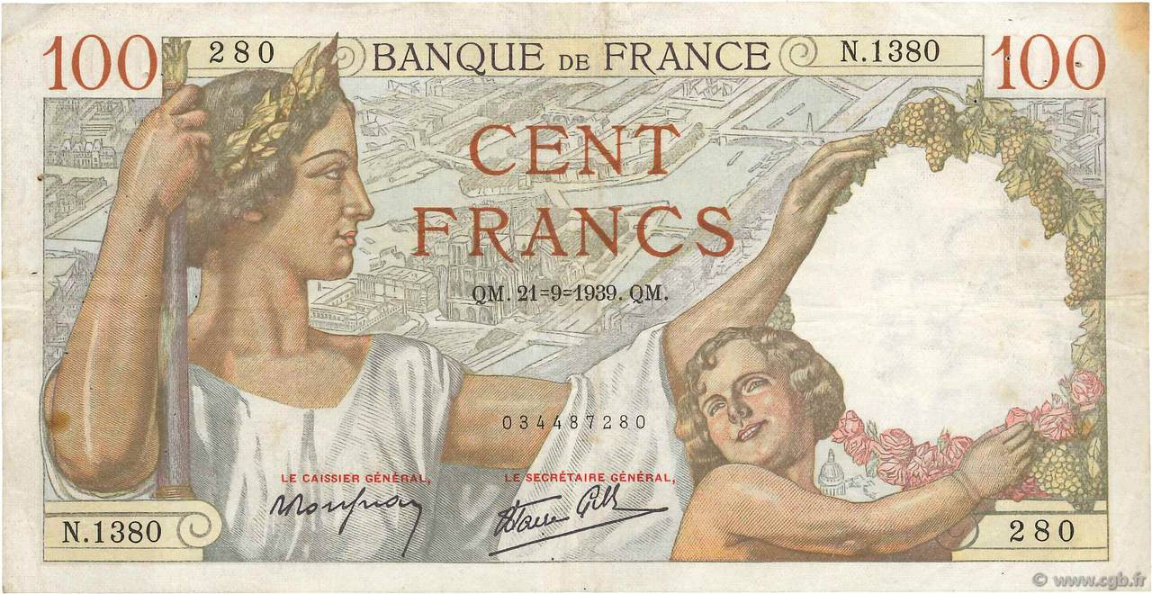100 Francs SULLY FRANCE  1940 F.26.34 TTB