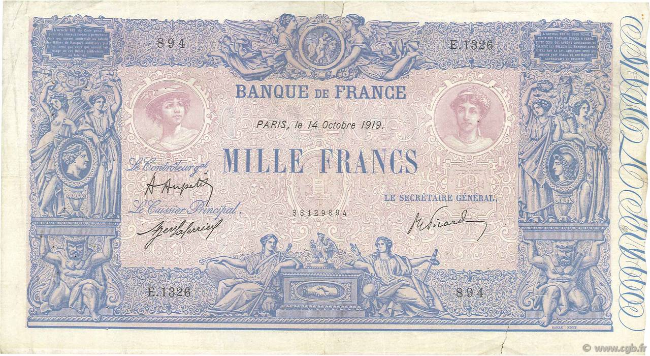 1000 Francs BLEU ET ROSE FRANCE  1919 F.36.34 TB