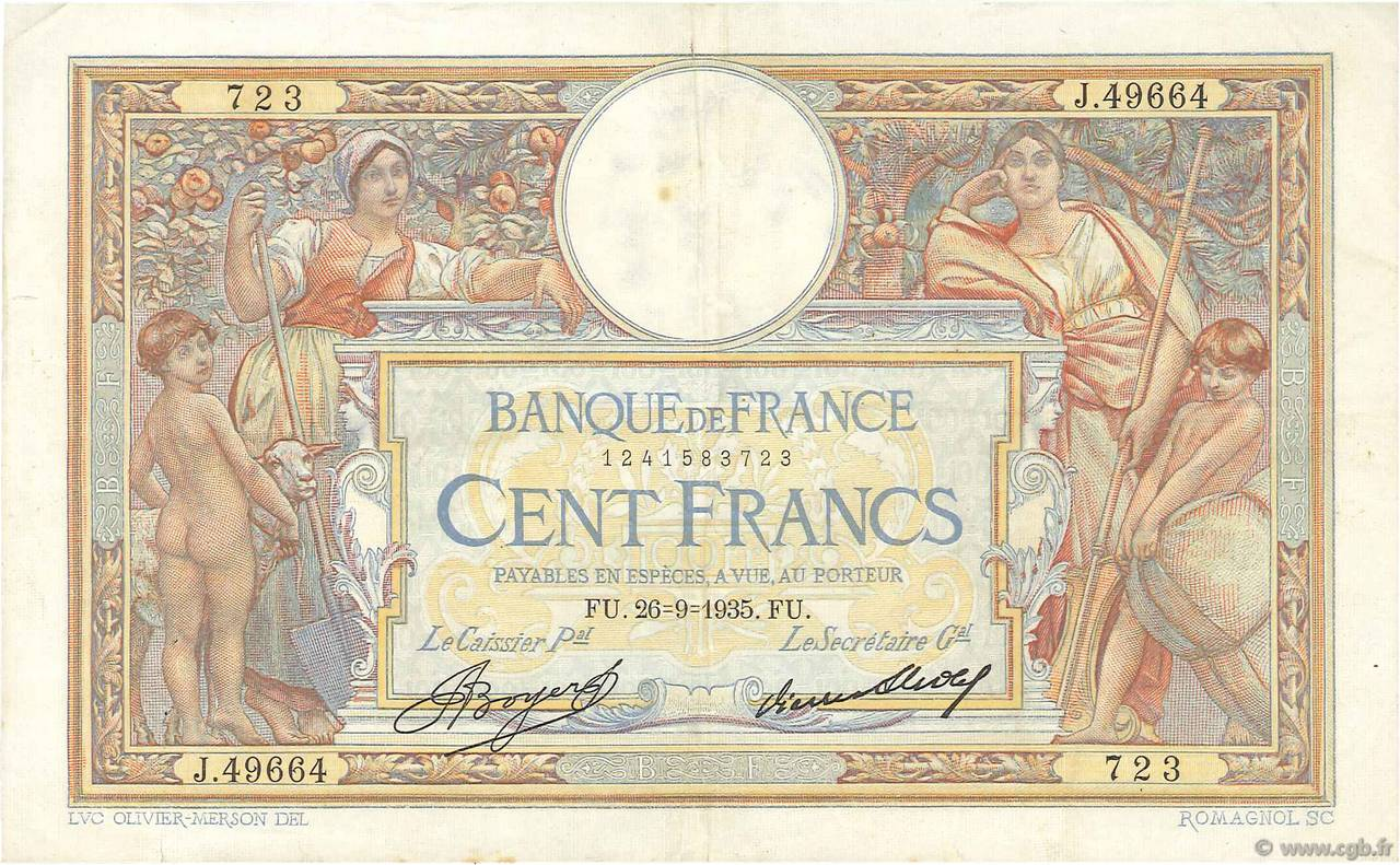 100 Francs LUC OLIVIER MERSON grands cartouches FRANCE  1935 F.24.14